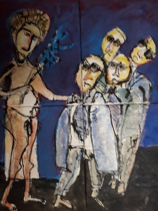 Inspiration fra kalkmalerier nr.1. 80x80 cm.
