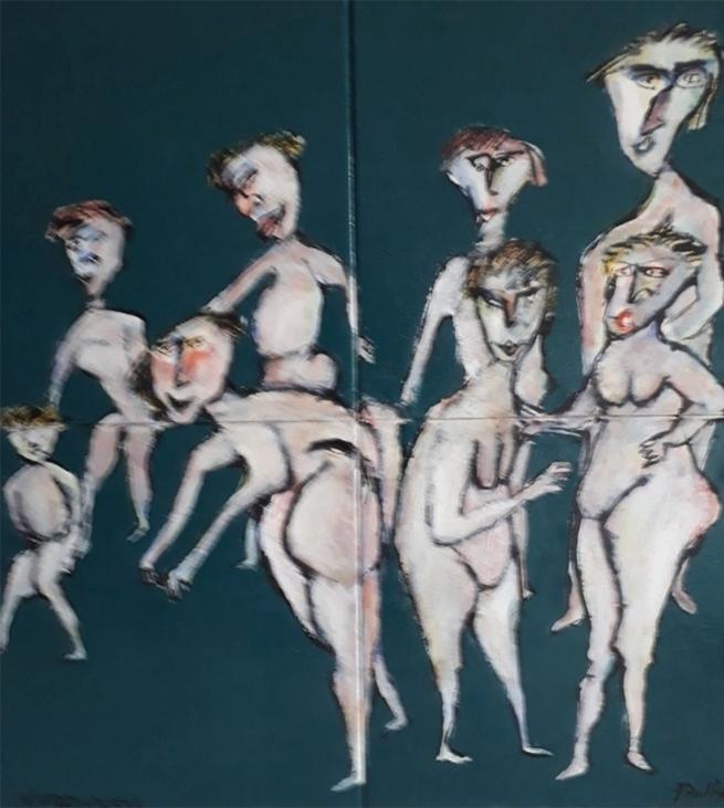 Inspiration fra kalkmalerier nr. 6. 80x80 cm.