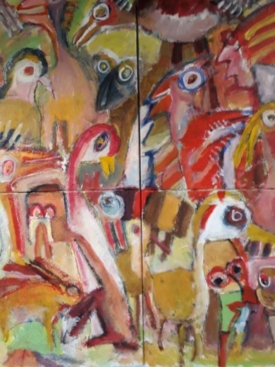 """Underlige Fugle"" nr. 1 (100x120 cm) priv."
