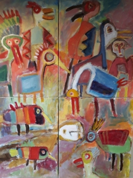 """Underlige Fugle"" nr.2. (100x120 cm))"